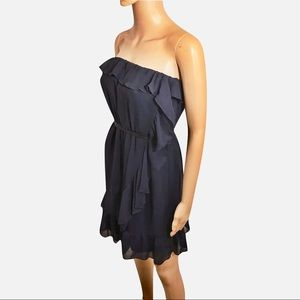 Strapless Sheer Layered Navy Blue H&M Dress